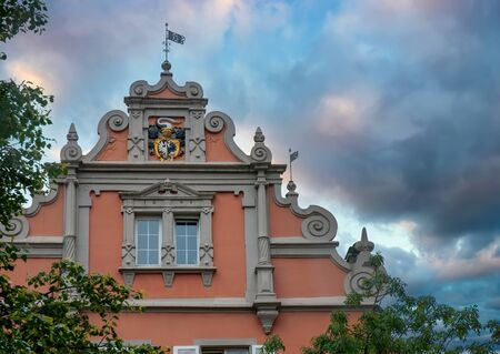 Photo pour Baroque gable of historic building in old town of Konstanz, Baden-Wurttemberg, Germany. Picturesque burning sky - image libre de droit