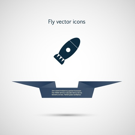Icon flat bomb and ribbon for your text.