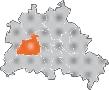 Map of Berlin, focus on district Charlottenburg - Wilmersdorf