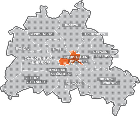 Map of Berlin, focus on district Friedrichshain - Kreuzberg