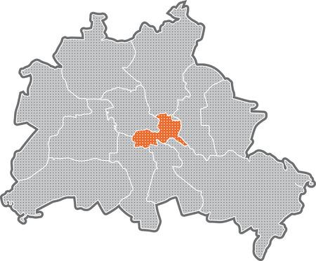 Map of Berlin, focus on district Friedrichshain Kreuzberg