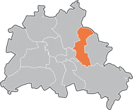 Map of Berlin, focus on district Lichtenberg