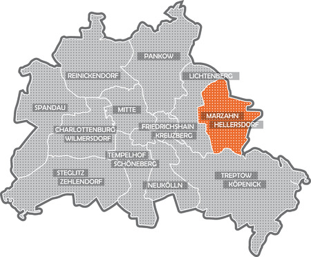 Map of Berlin, focus on district Marzahn - Hellersdorf