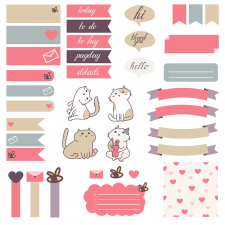Ilustración de Cute cats and heart pattern in pastel pink, beige and gray.Stickers for organized planner. Template for planner, scrapbooking, wrapping, wedding invitation, notebooks, diary. - Imagen libre de derechos