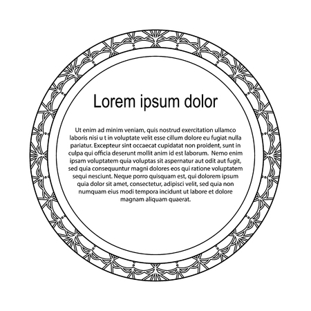 Round black and white border frame with doodle flowers. Can be used for decoration and design photo frame, menu, card, scrapbook, album. Vector Illustration