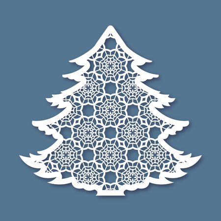 Illustration for Christmas tree with geometric pattern. Laser Cutting template for greeting cards, envelopes, invitations, interior elements. Vector xmas paper cutting ornamental panel. Die cut card. - Royalty Free Image