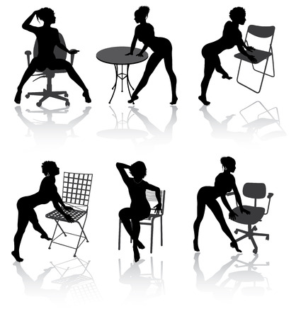 Sexy girls with armchairs in different poses