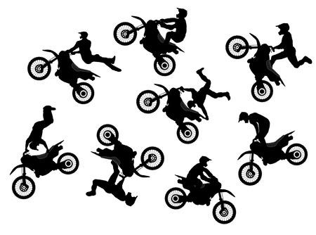 Illustration pour Isolated motocross rider jump vector set - image libre de droit