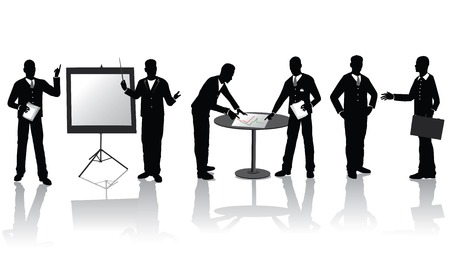 High quality business people silhouettes in different situations