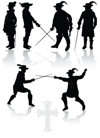 Royal musketeers collection in different poses vector illustration