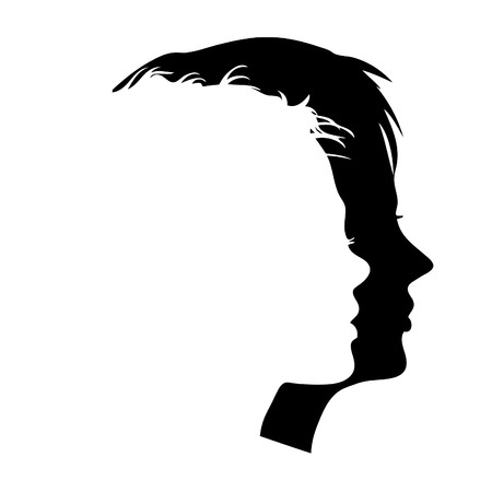 Vector man and woman faces profiles