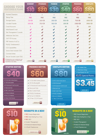 Hosting Pricing Tables and Banners