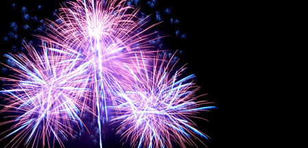 Foto per Blue colorful fireworks on the black sky background - Immagine Royalty Free