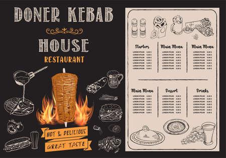 Illustration pour Doner kebab cooking and ingredients for kebab, Arabic cuisine frame. Fast food menu design elements. Shawarma hand drawn frame. Middle eastern food. Turkish food. illustration - Vector. - image libre de droit