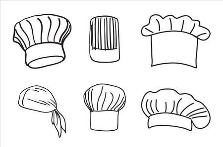 Illustration pour chef hat. Hand drawn set of chef and cook hats. Vector. - image libre de droit