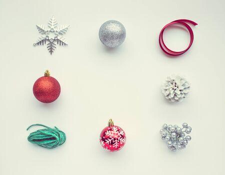 Foto de Christmas ornament on white color background.For christmas concepts or new year,celebration ideas. - Imagen libre de derechos