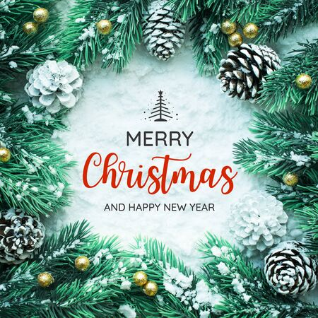 Foto de MERRY CHRISTMAS AND HAPPY NEW YEAR  typography,text with christmas ornament decoration design - Imagen libre de derechos