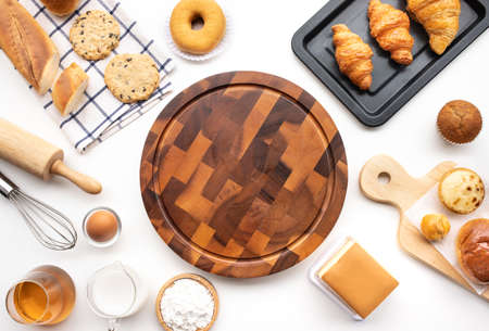 Photo for Set of breakfast food or bakery,cake on table background.cooking and eating with healthy lifestyle.top view - Royalty Free Image