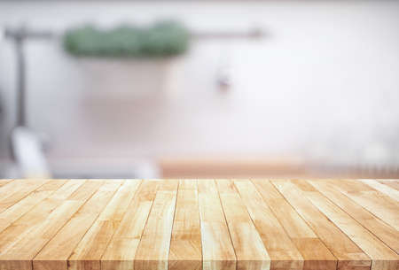 Photo pour Wood table top on blur kitchen counter (room)background.For montage product display or design key visual layout. - image libre de droit