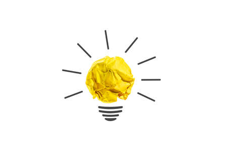Photo for Ideas with yellow paper crumpled ball ( lightbulb ).creativity business concept. - Royalty Free Image