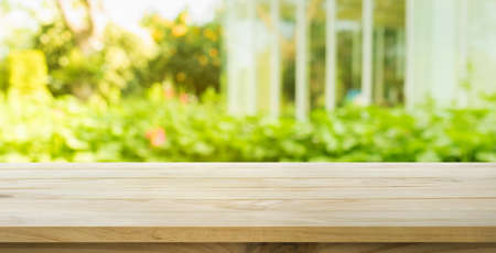Photo for Empty wood table top on lawn green from garden in morning background.For montage product display or design key visual layout - Royalty Free Image