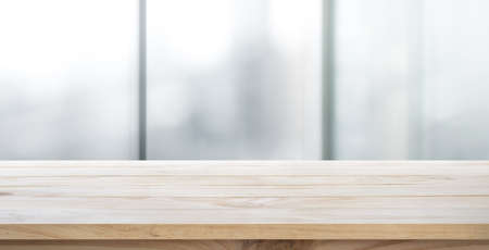 Foto für Empty wood table with blur room office and window city view background.For montage product display or design key visual layout. - Lizenzfreies Bild