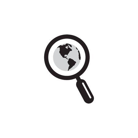 Illustration pour Magnifying Glass Globe Icon In Trendy Design Vector - image libre de droit