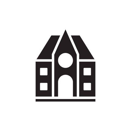 Illustration pour School Building Icon In Trendy Design Vector - image libre de droit