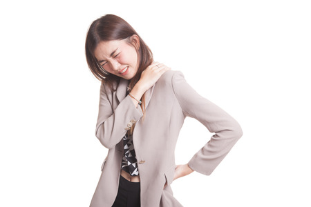 Photo pour Young Asian woman got back pain isolated on white background - image libre de droit