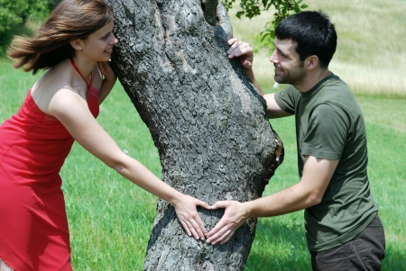 Couple is putting their hands on tree in a shape of heart