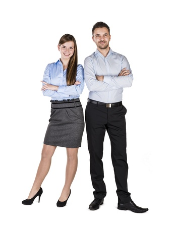 Successful business couple is standing on isolated background.の写真素材