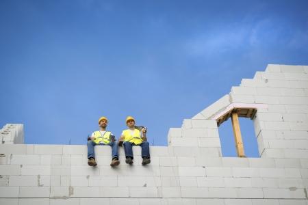 Construction Contractors building a big new home