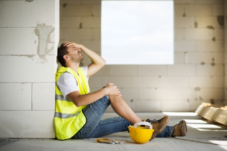 Construction worker has an accident while working on new house