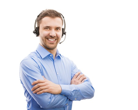 Call center operator isolated on white  Young handsome man with headset