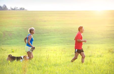 Photo pour Active seniors running with their dog outside in green nature - image libre de droit