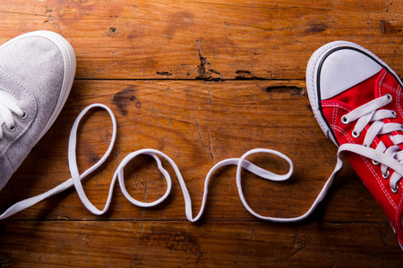 Photo for Love composition. Studio shot on wooden background. - Royalty Free Image