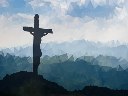 Watercolor vector illustration. Hand drawn Easter scene with cross. Jesus Christ. Crucifixion.の素材 [FY31053143229]