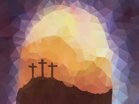 Ilustración de Polygonal vector design. Hand drawn Easter scene with cross. Jesus Christ. Crucifixion. Vector watercolor illustration. - Imagen libre de derechos
