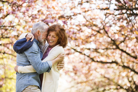 Photo pour Beautiful senior couple in love outside in spring nature. - image libre de droit