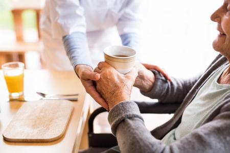 Photo pour Unrecognizable health visitor and a senior woman during home vis - image libre de droit
