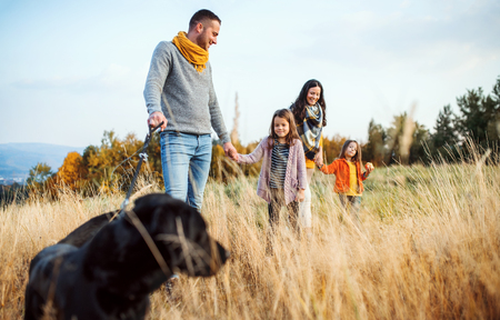 Foto per A young family with two small children and a dog on a walk in autumn nature. - Immagine Royalty Free