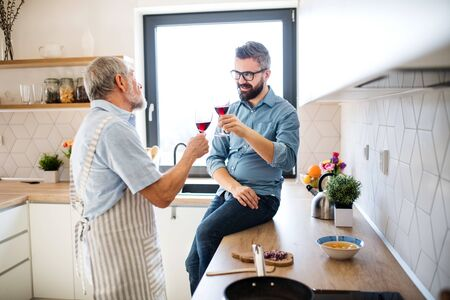 Foto de An adult hipster son and senior father indoors in kitchen at home, drinking wine. - Imagen libre de derechos