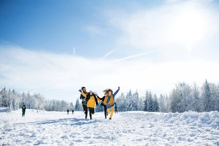 Photo pour Group of young friends on a walk outdoors in snow in winter forest, running. - image libre de droit