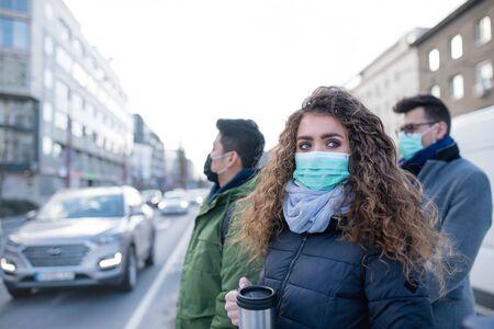 Foto de Coronavirus in city, prevention and protection concept. - Imagen libre de derechos