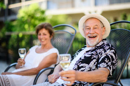 Photo pour Senior couple holding wine outdoors on holiday, looking at camera. - image libre de droit