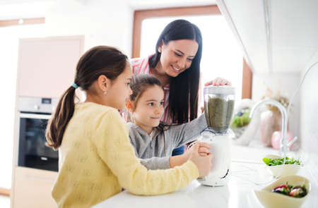 Photo for Mother with girls indoors at home, preparing fruit smoothie drink. - Royalty Free Image