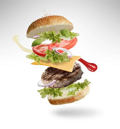 Photo pour Floating Burger - image libre de droit
