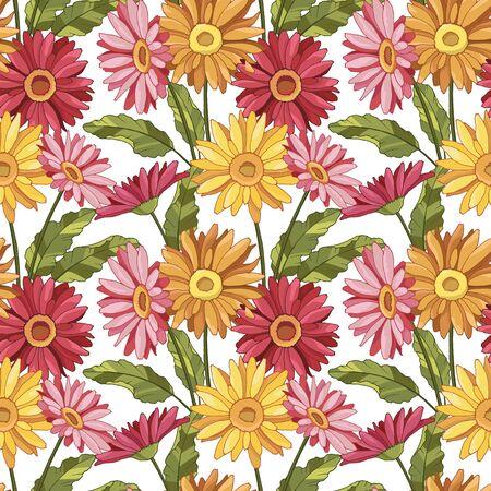 Illustration pour seamless pattern with gerbera flowers - image libre de droit