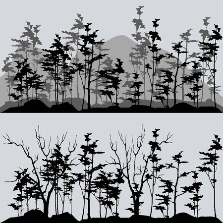 Illustration pour silhouettes of the forest in gray and black tones - image libre de droit
