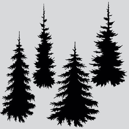 Illustration pour Silhouette of trees in black - image libre de droit